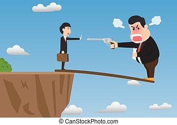 intimidar, employee., acantilado, vector, enojado, el suyo, sobresaliente, acción, ilustración, jefe, self-sabotage, caricatura, arma de fuego, utilizar, tonto, madera, concept., escarpa, estante