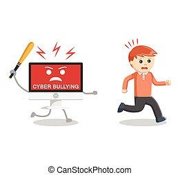 intimidar, lejos, cyber, hombre, corra