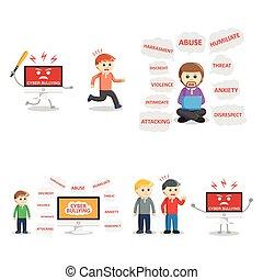 intimide, jogo, cyber, pessoas