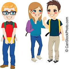 intimide, sofrimento, nerd, estudante