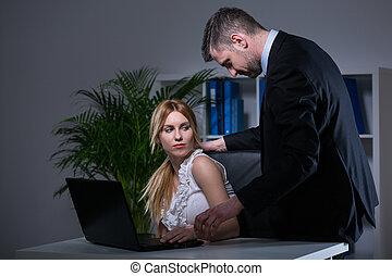 intimide, trabalho, sexual