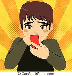 intimider, garçon, smartphone, adolescent