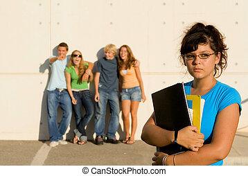 intimider, solitaire, groupe, étudiant, bulllies