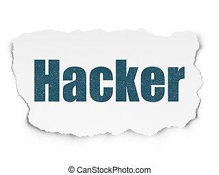 intimité, concept:, pirate informatique, sur, papier déchiré, fond