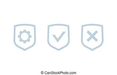 intimité, contrôle, icônes, protection