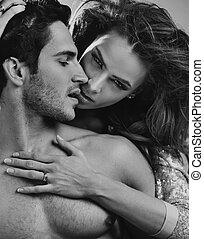 intimité, de, a, aimer couple