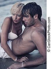 intimiteit, op het strand