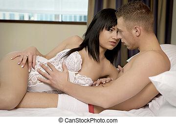 intimo, giovane coppia, durante, preliminari amorosi