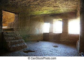 Into cave room. Old intetior design.