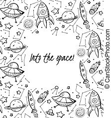 Into the space. Vertical childrens card with a contour space pattern of a constellation, rockets, stars, planets and lettering. Vector banner