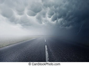 Into The Storm - Mammatus Clouds. Heading into the storm