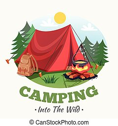 Into The Wild Background - Camping illustration with summer...