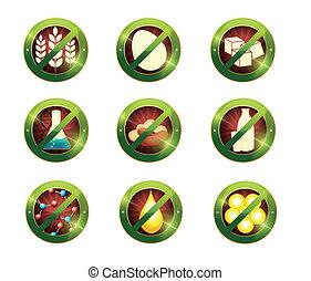 intolerance, 食物, product., サイン, 特定, 含みなさい, ない, signs.