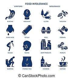 intolerance, estilo, conjunto, alimento, simple, icono