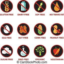 intolerance, gmo, gluten, カラフルである, 食物, ナット, アイコン, 隔離された, 食事, ラベル, バックグラウンド。, 警告, 搾乳場, free., 無料で, そのような物, 白砂糖, 卵