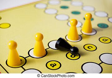 Black figure fall down in a board game