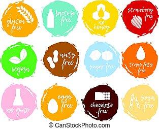 intolerance, set, gmo, cibo, collection., etichette, -, libero, simboli, products., allergens