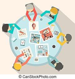 intorno, affari, cima, vettore, tavola, cerchio, riunione, vista