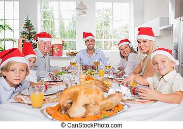 intorno, cena famiglia, tavola, sorridente, natale