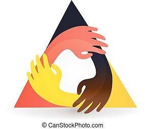 intorno, colorito, vettore, lavoro squadra, mani, logotipo