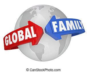 intorno, famiglia, comunità globale, pianeta, comune, parole, terra, mete
