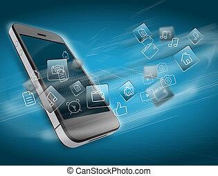 intorno, icone, mobile, domanda, telefono., rotazione