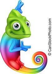intorno, indicare, camaleonte, segno, sbirciando, cartone animato