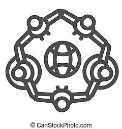 intorno, linea, vettore, bianco, concetto, giorno, bambini, simbolo, giugno, cerchio, standing, terra, fondo, pianeta, bambino, segno, bambini, protezione, style., mondo, icona, gruppo, contorno