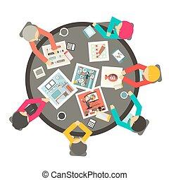 intorno, persone affari, cima, illustrazione, vettore, tavola, cerchio, riunione, vista