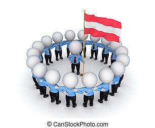 intorno, persone, flag., americano, piccolo, 3d