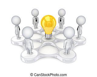 intorno, persone, idea, simbolo., piccolo, 3d