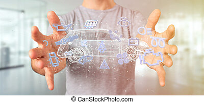 intorno, presa a terra, automobile, icona, 3d, uomo, interpretazione, smartcar