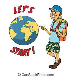 intorno, pronto, backpacker, viaggio, globo, giovane
