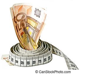 intorno, soldi, sopra, esso, nastro, fondo, misura, involvere, bianco