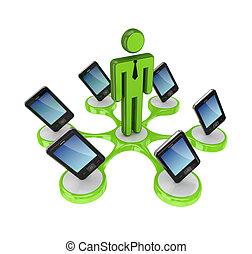 intorno, telefoni mobili, moderno, person., piccolo, 3d