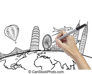 intorno, viaggiare, mano, mondo, sogno, disegno