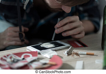 intoxiqué, prendre, cocaïne, drogue, homme