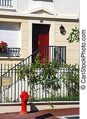 inträde, av, a, hus, med, trappa