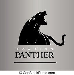 intrépido, panther., rugido, depredador