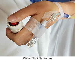 intra-veinous, állhatatos, türelmes, szükséghelyzet, cső, makro, kép, tű, bed., beöntés, gombolódik tol, kéz, intravénás, hand;