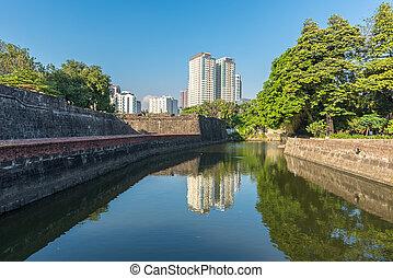 intramuros, santiago, filipinas., vista, edifícios, rio, ao longo, manila, forte, pasay
