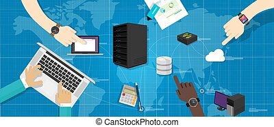 intranet, hacer contactos camarero, base de datos, rúter, nube, internet, interconexionado, mapa del mundo, él, infraestructura, dirección