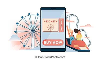 intrattenimento, biglietto, divertimento, libro, linea, concept., parco, idea