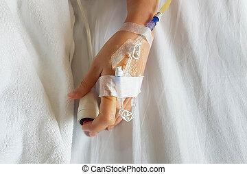 intravénás, közelkép, tű, türelmes, szükséghelyzet, bed., cső, rámenős, beöntés, kéz, iv, gombol