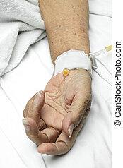 intravenös, tålmodig, droppa, hand