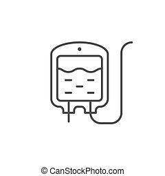 Intravenous bag line outline icon