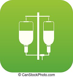 Intravenous infusion icon digital green for any design...