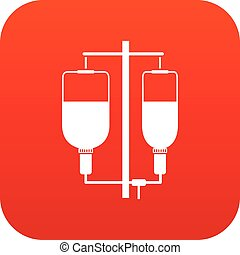 Intravenous infusion icon digital red for any design...