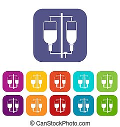 Intravenous infusion icons set illustration in flat style In...