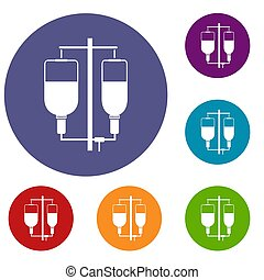 Intravenous infusion icons set in flat circle reb, blue and...